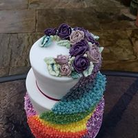 Rainbow themed engagement cake