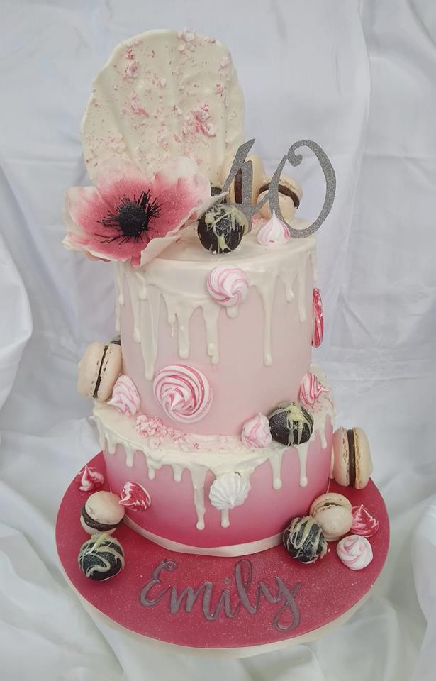 Pink and glitter ombre drip cake