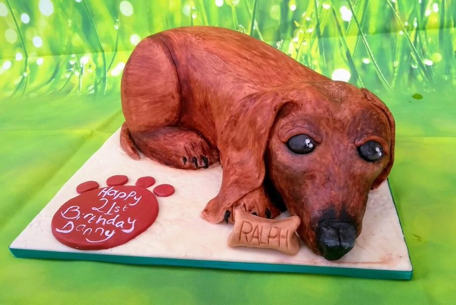 Sausage dog 3D cake