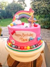 Rainbow themed birthday cake