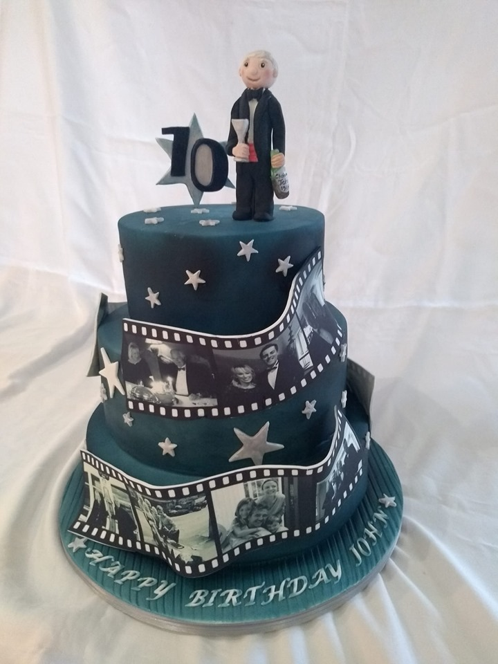 Hollywood silver screen style film reel celebration cake